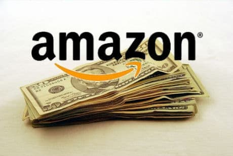 A pile of money with the Amazon logo printed on top