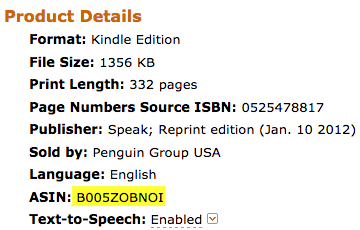 Screen capture of the Product Details section of Amazon highlighting the ASIN