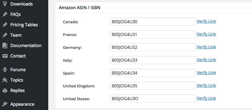 Screen capture of the Amazon ASIN / ISBN box that is shown below a post