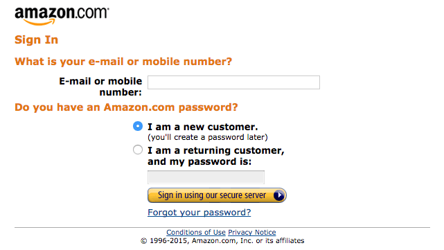 Screen capture of the Sign In page of the Amazon Associates Program
