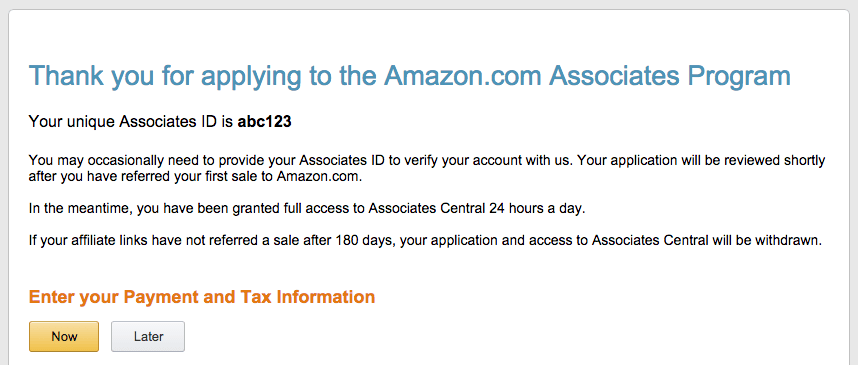Screen capture of the confirmation page of the Amazon Associates Program