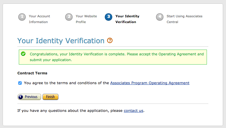 Screen capture of the Your Identity Verification page of the Amazon Associates Program after your identity has been verified