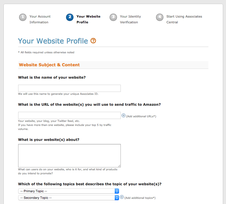 Screen capture of the Your Website Profile page of the Amazon Associates Program
