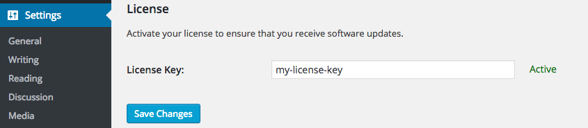 Screen capture of the License section of the Affiliate Linkalizer for Amazon Settings showing an active license