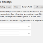 Screen capture of the Custom Fields tab of the Book Review Settings