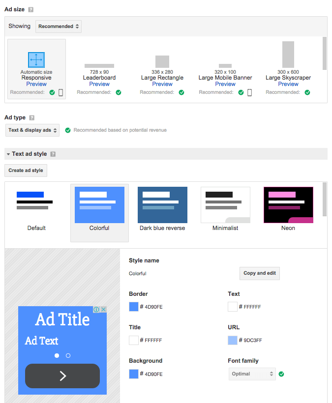 """Screen capture of the Google AdSense """"Ad units"""" page"""