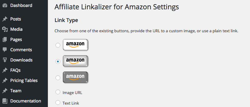 Screen capture of the Link Type section of the Affiliate Linkalizer for Amazon Settings