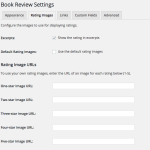Screen capture of the Rating Images tab of the Book Review Settings