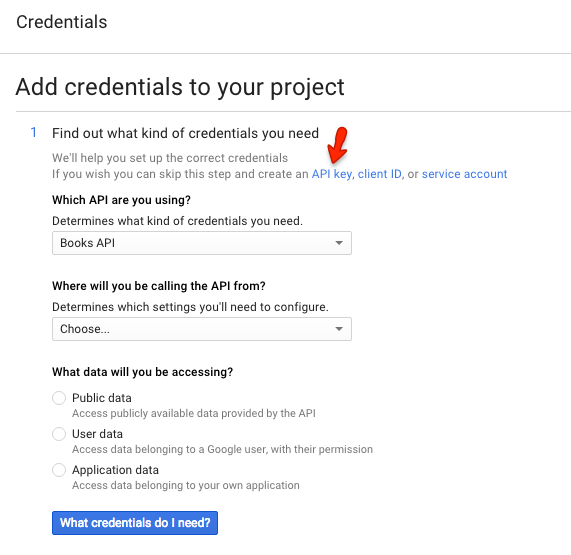 Screen capture of the Credentials screen of the Google Developers Console
