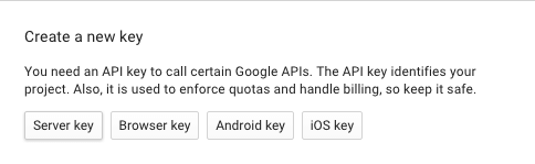 "Screen capture of the ""Create a new key"" dialog of the Google Developers Console"