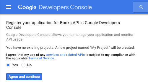Screen capture of the terms of service of the Google Developers Console