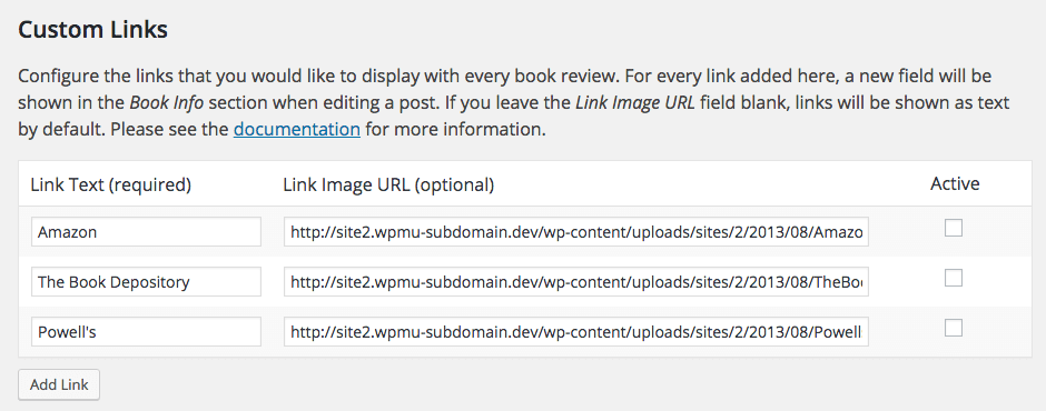 Screen capture of the Custom Links section on the Links tab of the Book Review Settings