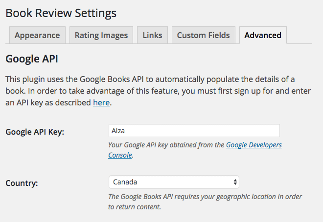 Screen capture of the Advanced tab of the Book Review Settings