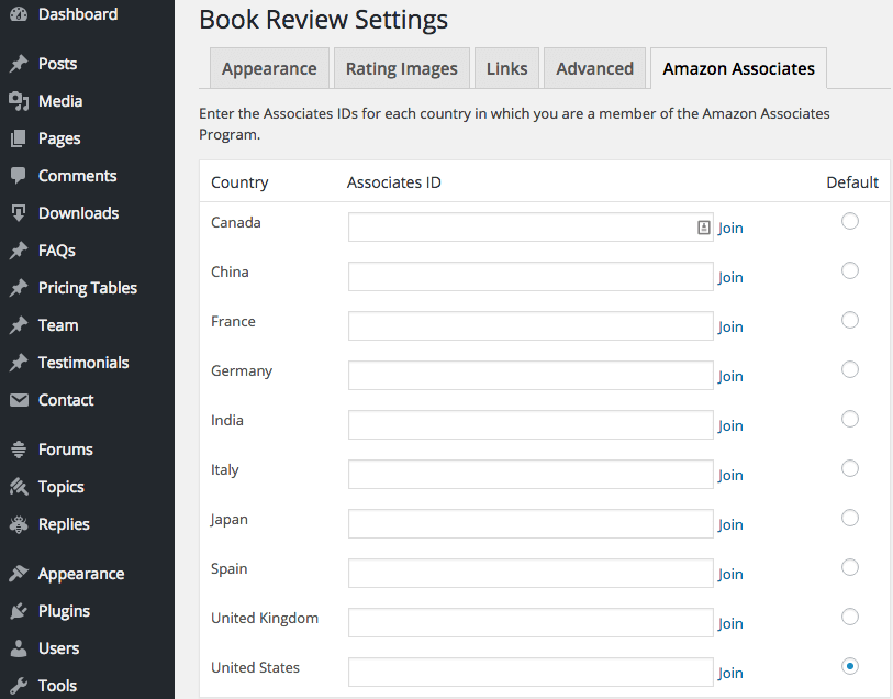 Screen capture of the Amazon Associates tab of the Book Review Settings