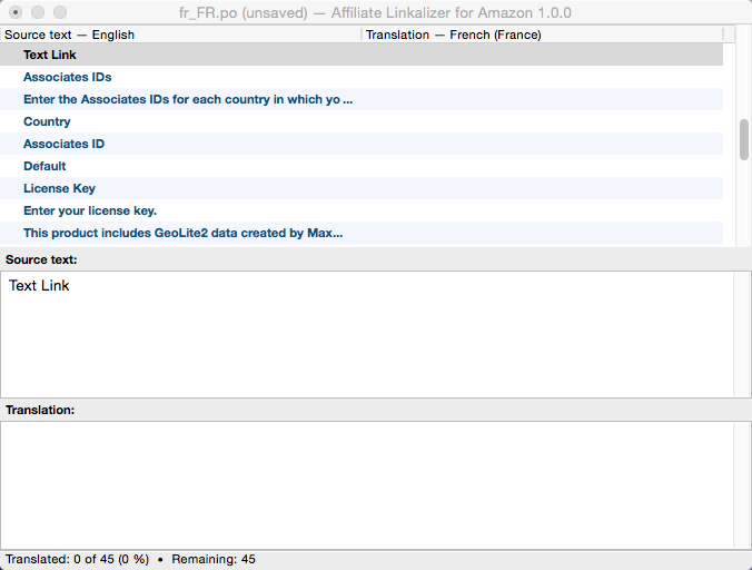 Screen capture of what the affiliate-linkalizer-amazon.pot file looks like when opened with Poedit