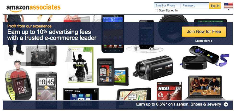 Screen capture of the home page of the Amazon Associates Program