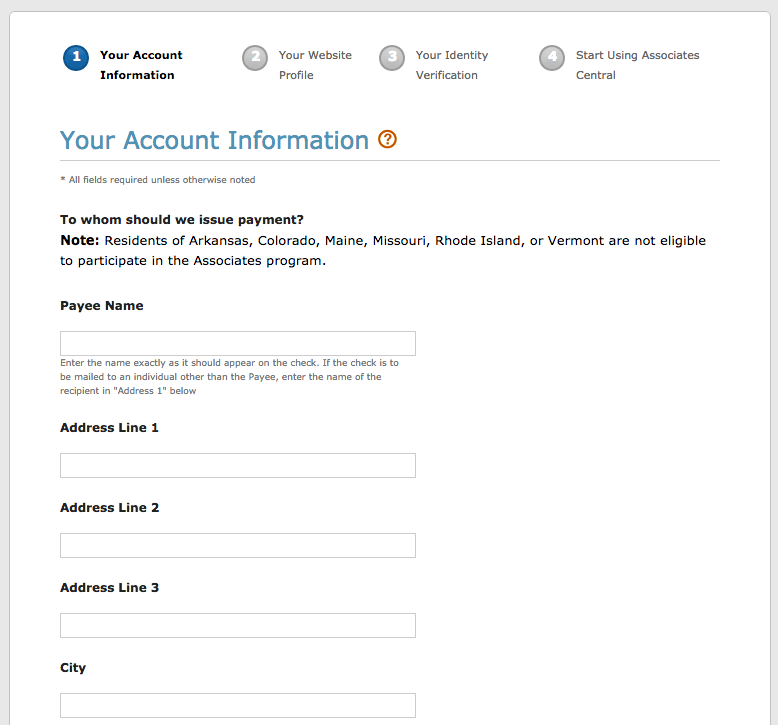 Screen capture of the Your Account Information page of the Amazon Associates Program