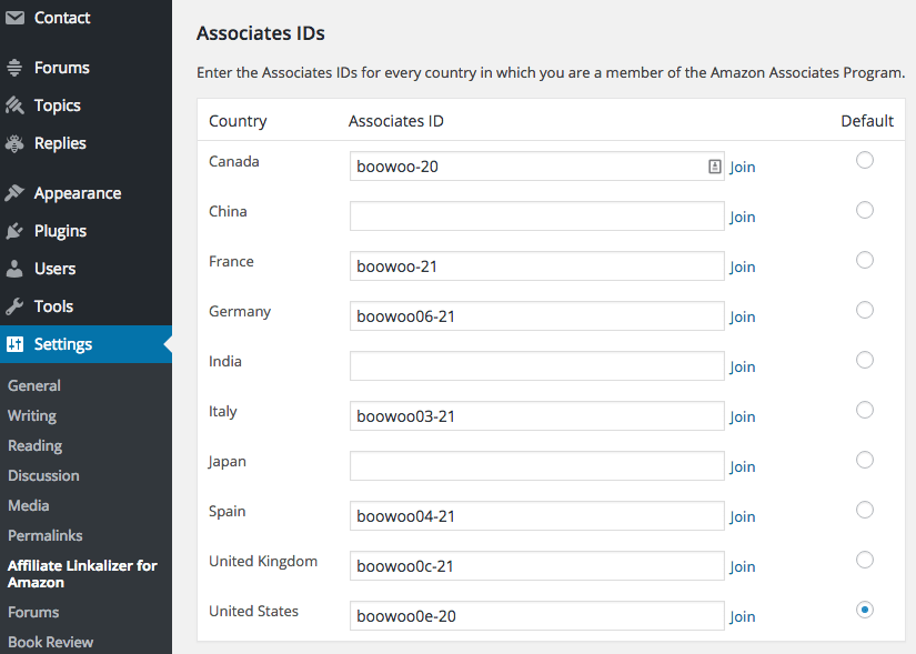 Screen capture of the Associates IDs section of the Affiliate Linkalizer for Amazon Settings