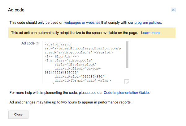 "Screen capture of the Google AdSense ""Ad code"" dialog"