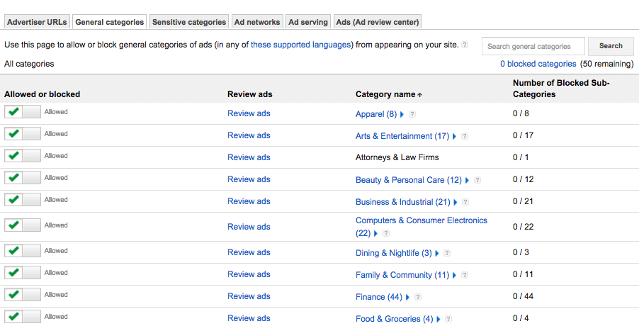 "Screen capture of the Google AdSense ""Allow & block ads"" page"