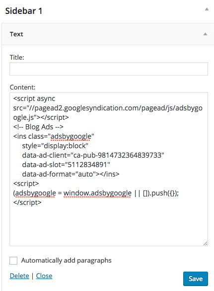 Screen capture of the Google AdSense code snippet pasted into a WordPress text widget