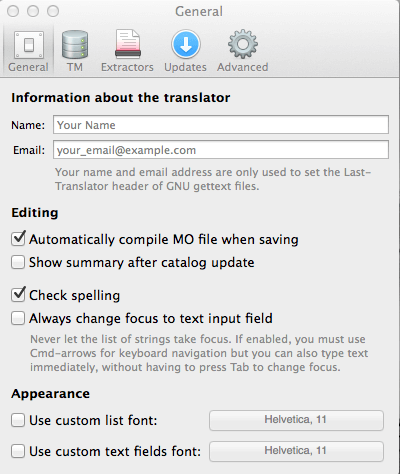 Screen capture of the Poedit Preferences dialog