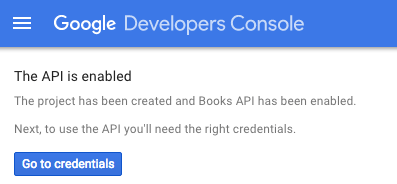 Screen capture showing that the Google Developers Console project was created
