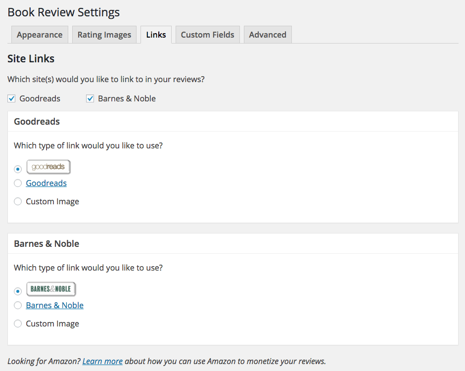 Screen capture of the Site Links section of the Book Review Settings